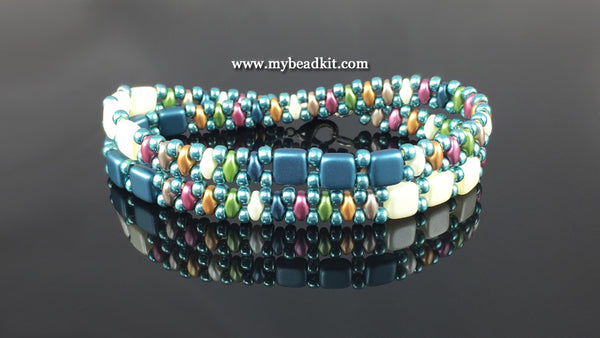 Springtime Beaded Bracelet Kit with 2-Hole Glass Beads (Teal Mix)