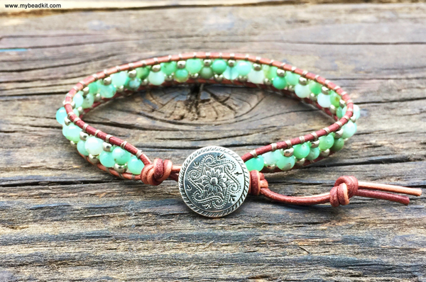 Stone & Seed Bead Leather Wrap Bracelet Kit (Chrysoprase) - Ladder Stitch