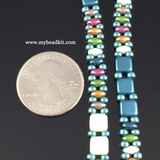 New! Springtime Beaded Bracelet Kit with 2-Hole Glass Beads (Teal Mix)