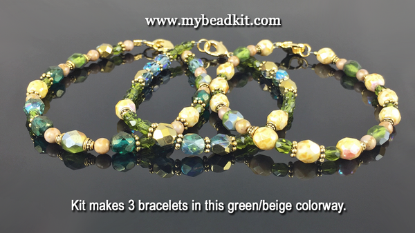 3-Kit Multipack: Basic Beaded Bracelet Kits (Green/Beige)
