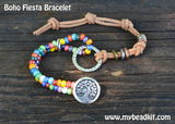 Boho Fiesta Bracelet Kit - Seed Beads and Leather Bracelet - Boho Style