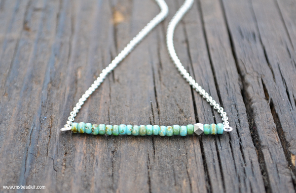 SALE! Simple Beauty Bead & Chain Minimalist Necklace Kit - Glass Seed Bead (Turquoise)