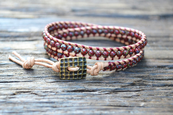 Glass Bead Wrap Bracelet Kit (4mm Dark Red Picasso Color)