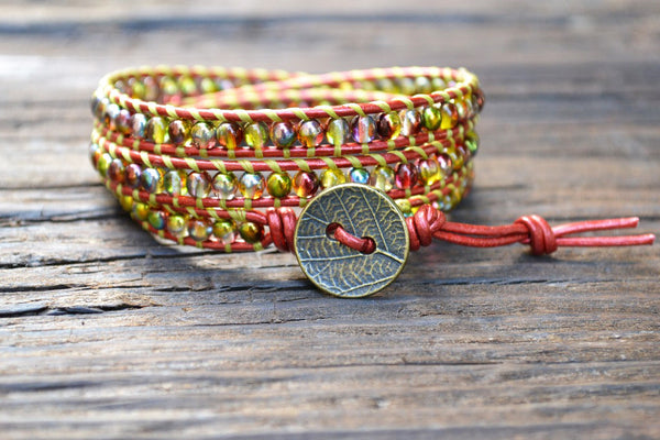 SOLD OUT! Glass Bead Wrap Bracelet Kit (4mm Vibrant Metallic Red and Chartreuse)