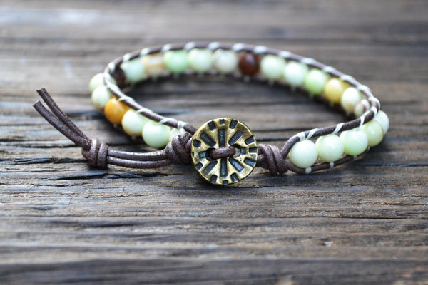 6mm Yellow Chrysoprase Leather Wrap Bracelet Kit (Semi-precious Stone)