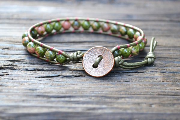 6mm Unakite Leather Wrap Bracelet Kit (Semi-precious Stone)