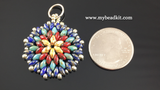 Mandala Style Pendant Kit - 2-hole Glass Beads - Picasso Color Mix