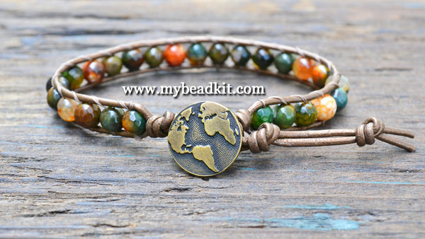 New! Faceted Agate Leather Wrap Bracelet Kit (6mm Semi-precious Stone)