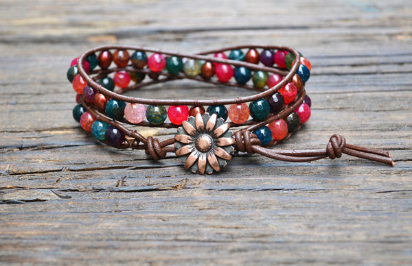 6mm Agate & Freshwater Pearl Leather Wrap Bracelet Kit (Dyed)