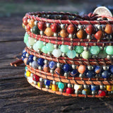 Stone & Seed Bead Leather Wrap Bracelet Kit (Red Creek Jasper) - Ladder Stitch