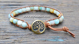 New! Amazonite Leather Wrap Bracelet Kit (6mm Semi-precious Stone)