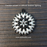 Mandala Style Pendant Kit - 2-hole Glass Beads - Black & White