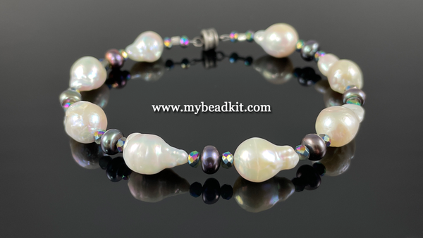New! Baroque Shaped Genuine Freshwater Pearl Bracelet Kit