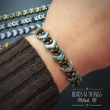 Chevron Beaded Bracelet Kit with 2-Hole Glass Beads (Gray & Turquoise)