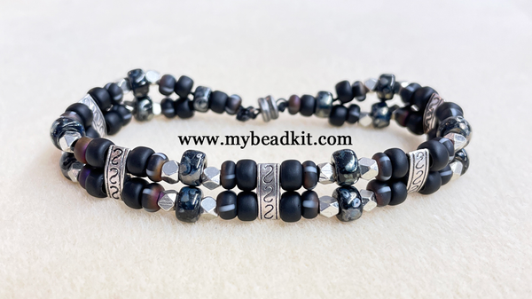 New! Easy Double-Strand Beaded Bracelet Kit (Black Color Mix)