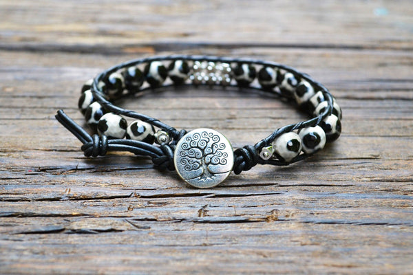 Giraffe Print (Black/Beige) Agate Leather Wrap Bracelet Kit (Single wrap)