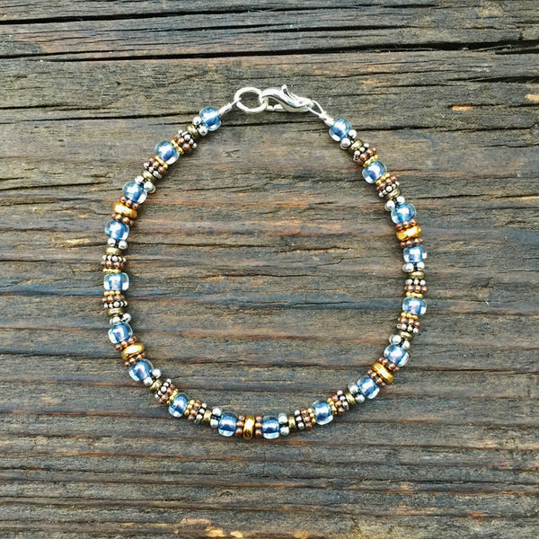 Bead Stringing 101: Beaded Bracelet Making Kit (Magic Blue colored glass beads)