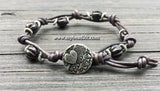 Boho Chic Glass Bead & Knotted Leather Bracelet Kit (Black & Silver)