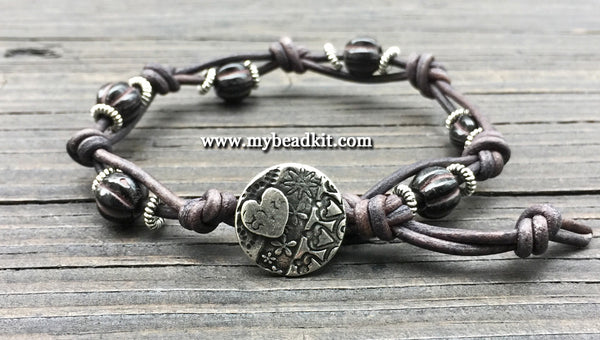 New! Boho Chic Glass Bead & Knotted Leather Bracelet Kit (Black & Silver)