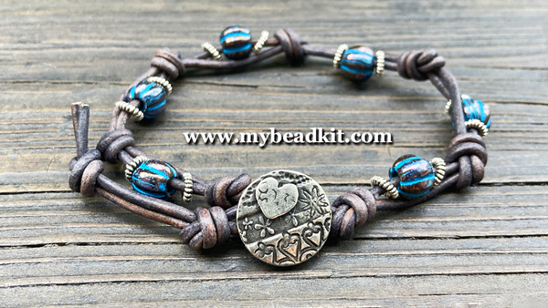 New! Boho Chic Glass Bead & Knotted Leather Bracelet Kit (Black with Blue & Silver)
