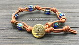 Boho Chic Glass Bead & Knotted Leather Bracelet Kit (Blue & Gold)