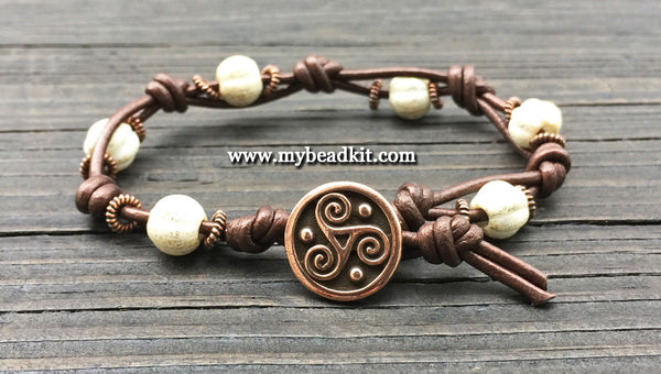 New! Boho Chic Glass Bead & Knotted Leather Bracelet Kit (Cream & Copper)