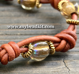New! Boho Chic Glass Bead & Knotted Leather Bracelet Kit (Amber & Gold)