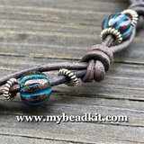 Boho Chic Glass Bead & Knotted Leather Bracelet Kit (Black with Blue & Silver)
