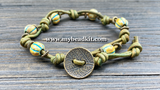 New! Boho Chic Glass Bead & Knotted Leather Bracelet Kit (Green & Brass)