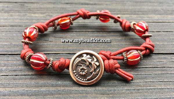 New! Boho Chic Glass Bead & Knotted Leather Bracelet Kit (Red & Copper)