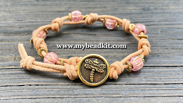 Boho Chic Glass Bead & Knotted Leather Bracelet Kit (Pink & Gold)