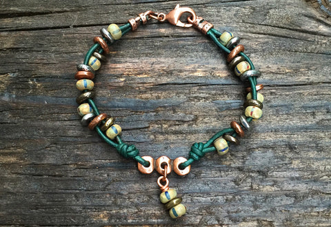 NEW! Boho-Style Leather & Seed Bead Bracelet Kit (Dark Green Leather)