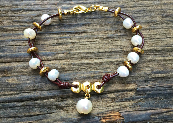 Boho-Style Leather & Freshwater Pearl Bracelet Kit (Wine Leather)