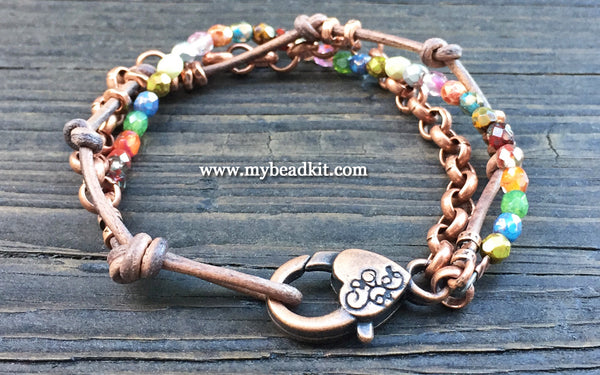 Triple Strand Boho-Style Bracelet Kit (Copper)