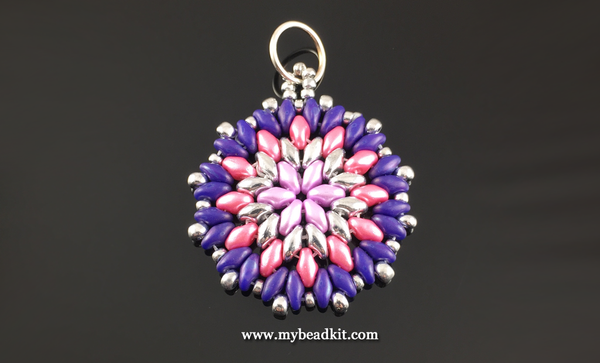 Mandala Style Pendant Kit - 2-hole Glass Beads - Pink & Purple