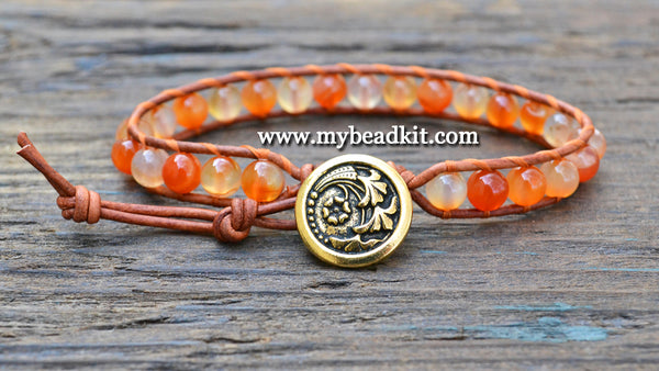 New! Carnelian Leather Wrap Bracelet Kit (6mm Semi-precious Stone)