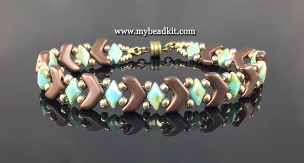 Chevron Beaded Bracelet Kit with 2-Hole Glass Beads (Satin Brown & Turquoise)