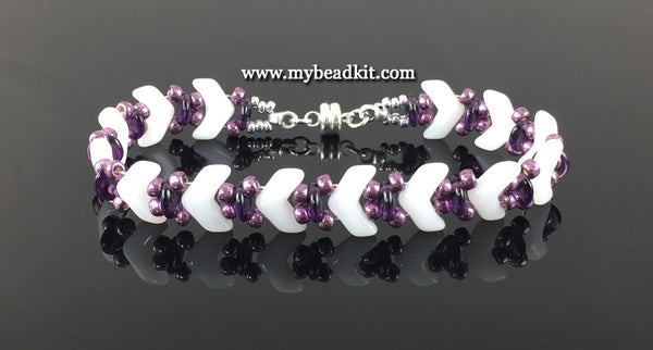 New! Chevron Beaded Bracelet Kit with 2-Hole Glass Beads (White & Purple)