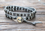 SALE! Hematite Cube & Glass Seed Bead Leather Wrap Bracelet Kit