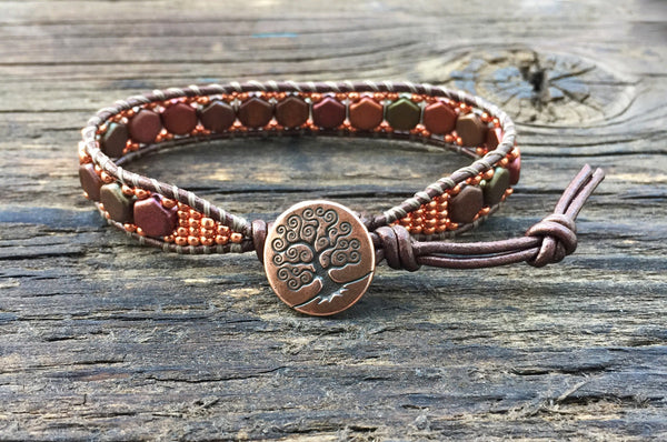 NEW! Hex Bead Leather Wrap Bracelet Kit - 2-hole Honeycomb Glass Beads - Seed Beads  - Ladder Stitch - Copper Color Mix