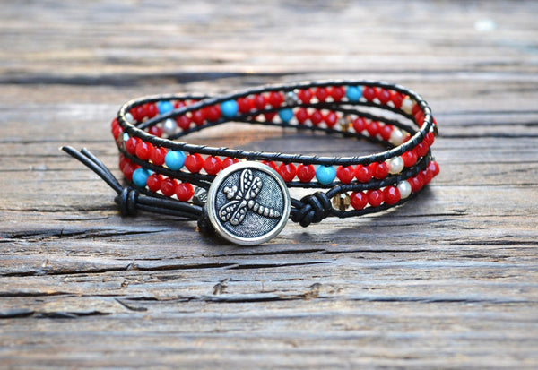 SOLD OUT! Coral Leather Wrap Bracelet Kit (Single wrap)