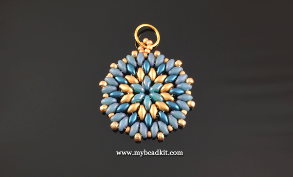 Mandala Style Pendant Kit - 2-hole Glass Beads - Teal & Gold