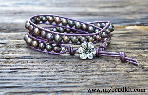 SOLD OUT! Freshwater Pearl in Deep Purple Iris Leather Wrap Bracelet Kit (Single or Double wrap)