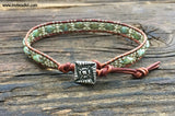 Diamond Elegance Leather Wrap Bracelet Kit - Diamond 2-hole Glass Beads - Ladder Stitch - Mint Green Color Mix