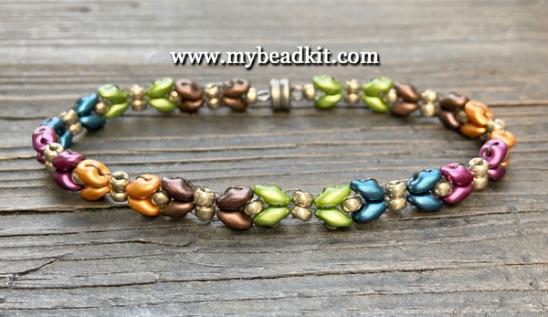 New! Dragonfly Wings Beaded Bracelet Kit with 2-Hole Glass Beads (Autumn Mix)