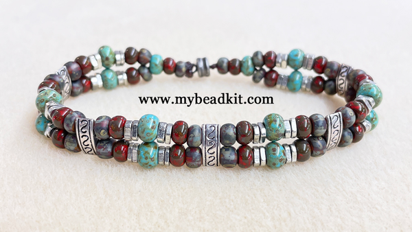 New! Easy Double-Strand Beaded Bracelet Kit (Earthy Color Mix)