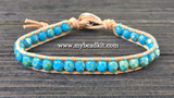 Faceted Glass Bead Leather Wrap Bracelet Kit (6mm - Turquoise color)