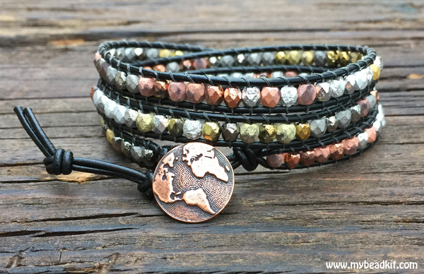 Heavy Metal Mix: Faceted Glass Bead Wrap Bracelet Kit