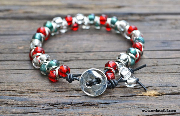 Holiday Bracelet Kit with Jump Rings and Seed Beads (Red/Green/Crystal)