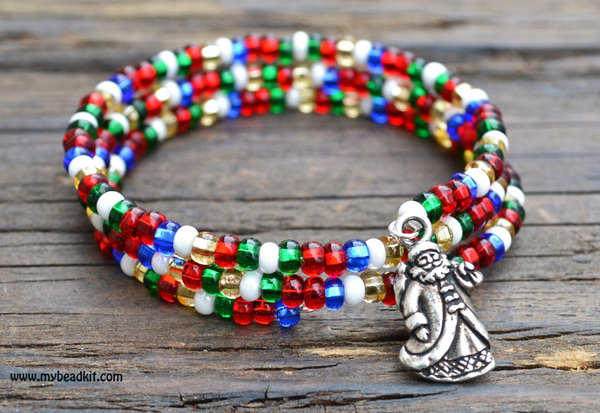 Memory Wire Holiday Bracelet Kit with St. Nick Charm
